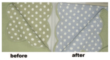 Before and after image of bedspread.